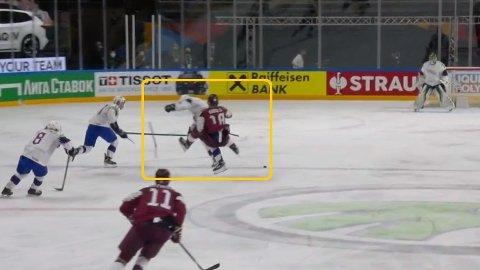 Erlend Lesund viste frem fysikk og kraft i VM-kampen mot Latvia. Skjermdump, Viasat