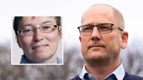STREIKESTRID: Kristine Nergaard hos Fafo (innfelt) mener det er lite sannsynlig at de streikende Unio-ansatte med Steffen Handal, leder av Unio kommune i spissen, får så mye ut av streiken som nå pågår.