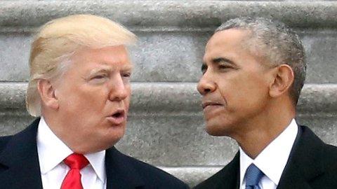Her er president Donald Trump og tidligere president Barack Obama under innsettelsen av Trump i januar 2017.