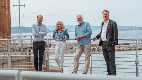 STÅR BAK NY SATSING: Fra venstre: Knut Olav Åmås (Fritt Ord), Bente E. Engesland (leder for Debattene om Norges fremtid), Stig Finslo (Amedia) og Johan H. Andresen (Ferd).