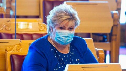Statsminister Erna Solberg (H) var på plass i Stortinget onsdag.