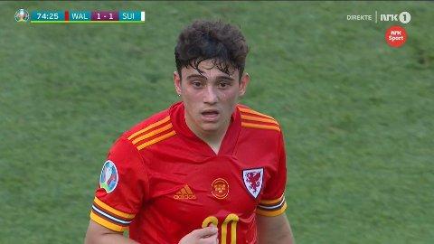 IRRITERT: Daniel James likte dårlig å bli byttet ut rett etter at Wales utlignet til 1-1.