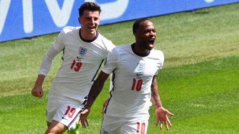 ENGLANDS FØRSTE: Raheem Sterling sendte Wembley til himmels med Englands første scoring i EM.