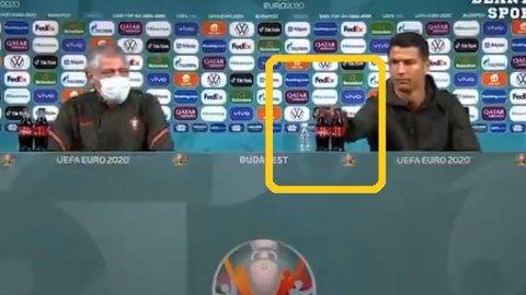 FJERNET FLASKER: Cristiano Ronaldo ville ikke ha noe av det som sto på bordet og kom deretter med en klar beskjed.