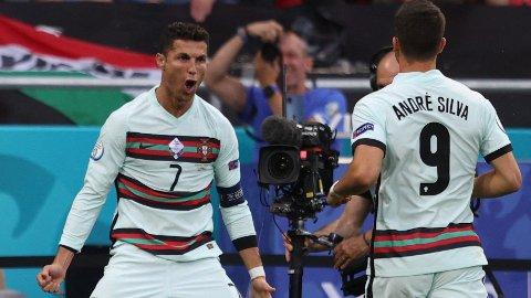 HISTORISK: Cristiano Ronaldo scoret sitt 10. og 11. EM-mål da Portugal slo Ungarn 3-0.
