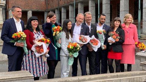 GÅR DE AV?: Her er Oslo-byrådet som ble presentert for snart to år siden, og onsdag blir det klart om det rødgrønne byrådet velger å trekke seg sammen med byråd Lan Marie Berg (MDG).