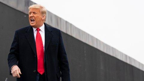 - Vårt land er nå blitt et gigantisk fristed hvor til og med farlige kriminelle bare blir løslatt, skriver Donald Trump i en uttalelse. Her er tidligere president Donald Trump fotografert ved en mur over til Mexico i Alamo, Texas, 12. januar i år.