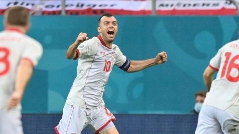 Goran Pandev jubler etter å ha utlignet til 1-1 mot Østerrike i EM-åpningen.