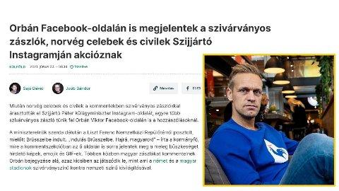 SKAPER OVERSKRIFTER: Mads Hansen skaper overskrifter i Ungarn etter Pride-stuntet mot den ungarske utenriksministeren.