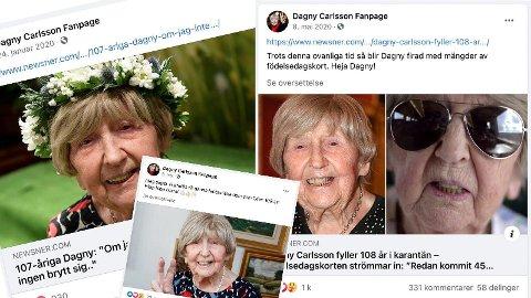 109 ÅR GAMMEL: Dagny Carlsson er trolig verdens eldste influenser, og har flere fans i Sverige.