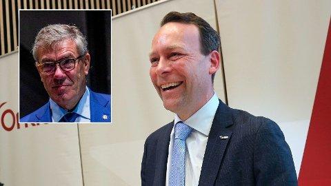 Storaksjonær Stein Erik Hagen (innfelt) og administrerende direktør Jaan Ivar Semlitsch i Orkla tar et nytt jafs av pizzamarkedet.