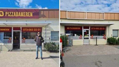 BORTE VEKK: Da Thomas var innom pizzarestauranten sin torsdag forrige uke var skiltet fjernet.