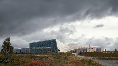 Slik ser det foreslåtte Det Samiske Nasjonalteatret Beaivváš ut. Planen er at også Samisk videregående skole og reindriftsskole skal inn i det samme bygget. Arkitektfirmaene Snøhetta Oslo og 70°N arkitektur har vært med på utførelsen. Foto: Econor med Snøhetta Oslo og 70°N arkitektur / NTB