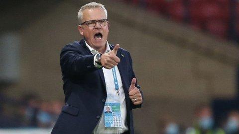 FRUSTRERT: Janne Andersson var lite imponert over Ukrainas opptreden utover i kampen.