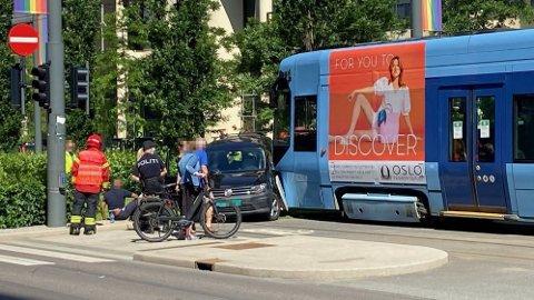 ULYKKE: Trikken og bilen kolliderte i samme kryss hvor det har vært mange ulykker tidligere.