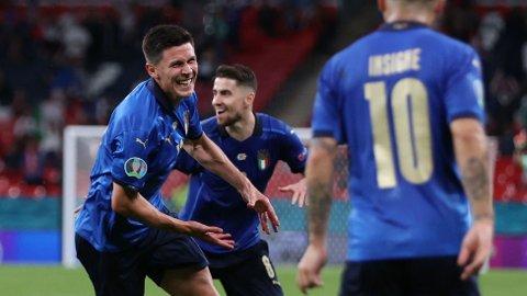Matteo Pessina jubler etter å ha scoret mot Østerrike på Wembley. Atalanta-spilleren kan få sjansen fra start i kvartfinalen mot Belgia.