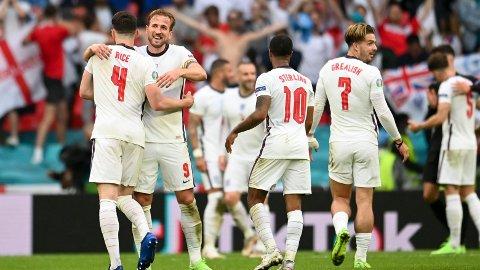 Declan Rice, Harry Kane, Raheem Sterling og Jack Grealish jubler etter seieren i åttedelsfinalen mot Tyskland 29.juni.
