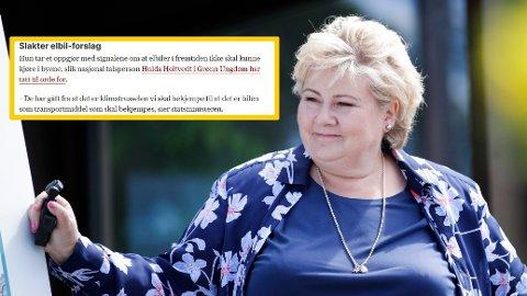 Statsminister Erna Solberg (H) er på valgkampturné før stortingsvalget 2021, men får kritikk for en VG-artikkel lørdag.