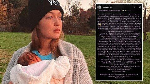 BER OM SKJERMING: Gigi Hadid ønsker å kunne ta med seg datteren rundt om i verden uten å vise ansiktet hennes.