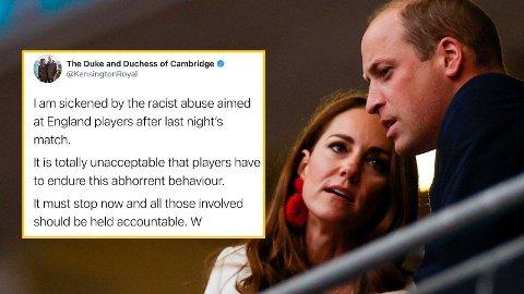 FORSVARER SPILLERNE: Prins William synes ikke noe om de rasistiske ytringene som har blitt delt om Englands fotballspillere.