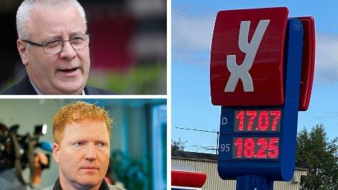 REAGERER: Bård Hoksrud (Frp) og Sigbjørn Gjelsvik (Sp) mener bensinprisene har blitt for høye. De ønsker avgiftskutt og lavere pumpepris til nordmenn.