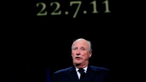 KONGEN KOMMER: Kong Harald vil være tilstede under minneseremonien. Her er han under en lignende tilbake i 2011.