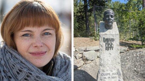 Den dansk-norske forfatteren Anne Bitsch har skrevet en bok om drapet på Benjamin Hermansen. hun synes hærverket på minnesmerket er forkastelig.