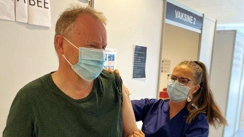 Her fikk byrådsleder Raymond Johansen sin første dose av koronavaksinen tidligere i år.