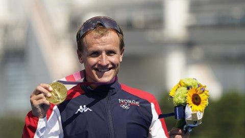 DET SYNLIGE BEVISET: Kristian Blummenfelt tok Norges første gull i Tokyo-OL.