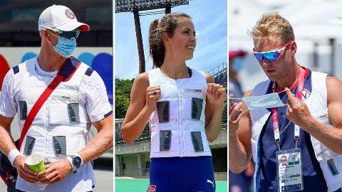 KJØLEVESTER: Kjetil Borch, Amalie Iuel og Erik Solbakken er blant de norske utøverne som har blitt sett med spesialvester før og etter konkurranser.