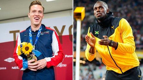 REKORDHOLDERE: Karsten Warholm fikk se en hilsen fra Usain Bolt på onsdagens pressekonferanse.