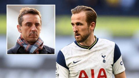 IKKE PÅ TRENING: Harry Kane nektet å møte opp på Tottenham-trening mandag og tirsdag. Det får fotballekspert Gary Neville til å reagere.