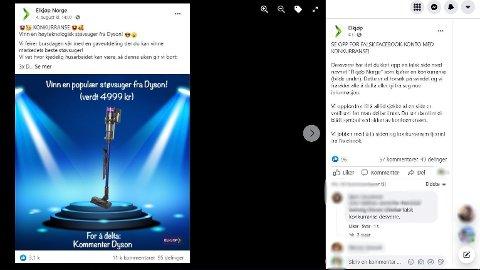 Fredag gikk Elkjøp ut på Facebook å advarte om et falskt konkurranseinnlegg.