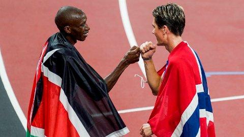 Timothy Cheruiyot var ingen dårlig taper, selv om OL-gullet gikk til Jakob Ingebrigtsen.