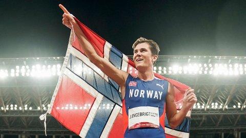 GULLGUTT: Jakob Ingebrigtsen løp inn til OL-gull på 1500 meter i OL i Tokyo.
