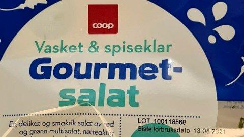 TREKKES: Coop trekker tilbake Coop Gourmetsalat 110 gram med best før-dato 13.08.2021 etter mistanke om at produktet inneholder for høye verdier av E.coli.