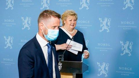 SETTER DATO: Helse- og omsorgsminister Bent Høie og statsminister Erna Solberg varsler opphevelse av koronatiltak.