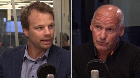 Jon Helgheim og Geir Lippestad møttes i Politisk kvarter onsdag morgen.