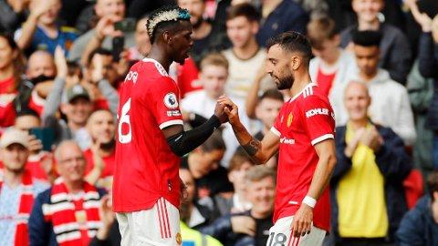 HERJET: Paul Pogba og Bruno Fernandes viste storform i første serierundekamp mot Leeds.