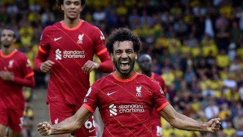 Liverpools Mohamed Salah jubler etter scoringen sin mot Norwich sist helg. Salah har ikke scoret på de syv siste kampene mot Burnley, men den statistikken kan han gjøre noe med lørdag.