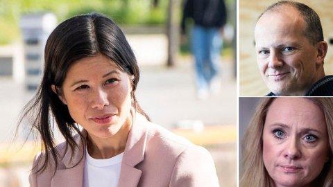 REAGERER: Ketil Solvik-Olsen, nestleder i Frp. , og Anniken Hauglie, direktør i Norsk olje og gass, synes MDGs Lan Marie Berg (t.v.) burde ta en bedre titt på den mye omtalte rapporten.