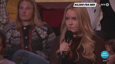 KONFRONTASJON: Marie Grødahl Brekkan (25) nølte ikke med å gi Erna Solberg en klar beskjed om fødetilbudet i distriktene.