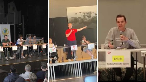 HARDT DEBATTKLIMA: Diskusjon om homoterapi, homofobi og rasisme er gjenganger i årets skoledebatter. Bilde: Debatt på Strinda VGS (t.v.), Tobias Linge i AUF (midt) og KrFUs Jarl Ystebø (t.h.).