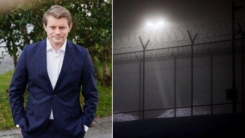 TOUGH ON CRIME: Justispolitisk talsperson i Høyre, Peter Frølich, er glad for at harde kriminelle soner lengre, men påpeker at det er færre som soner kortere dommer. T.h. Ila fengsel.