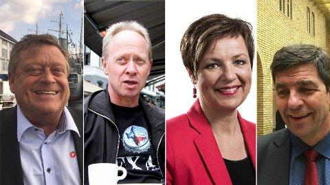 FIKK ETTERLØNN DE IKKE SKULLE HA: (F.v) Harald Tom Nesvik (Frp), Jan Arild Ellingsen (Frp), Anne Tingelstad Wøien (Sp) og Gunnar Gundersen (H).
