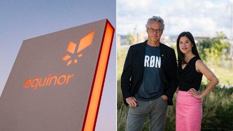 PROPAGANDA: Rasmus Hansson og Lan Marie Berg i MDG vil ha slutt på reklamen til Equinor.