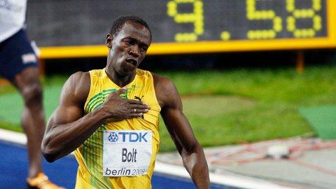 Usain Bolt satte verdensrekord på 100 meter i VM i Berlin i 2009.