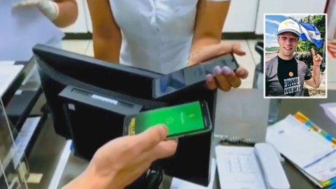 HISTORISK: Ved handling i butikker eller betaling for tjenester i El Salvador kan man nå bruke bitcoin som betalingsmiddel. Den mulighet grep norske Erik Dale (innfeldt) med begge hender. Foto: Montasje. Erik Dale / Privat.