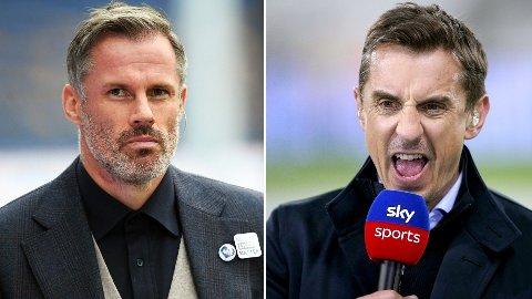 KOLLEGER: Jamie Carragher og Gary Neville jobber i dag som fotballeksperter for Sky Sports i England.