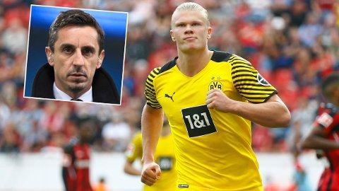 HAALAND TIL UNITED: Gary Neville tror Erling Braut Haaland kan bli aktuell for Manchester United.